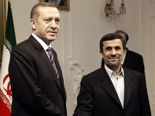Turkish Prime Minister Recep Tayyip Erdogan meets Iranian President Mahmoud Ahmadinejad in Tehran, Iran, in March. Relations between the two countries have deteriorated over Iran's continued support of the Syrian regime.