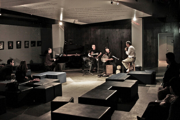 Joon Lee (right) leads a quartet inside the Blue Whale.