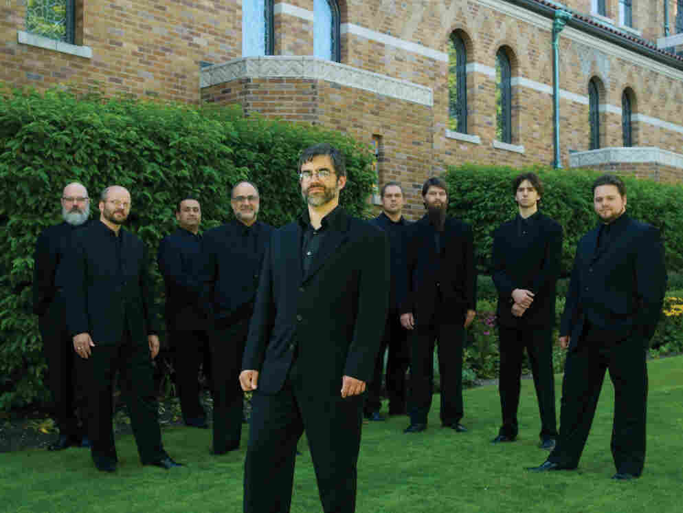 The vocal ensemble Cappella Romana, founded and led by Alexander Lingas (front).