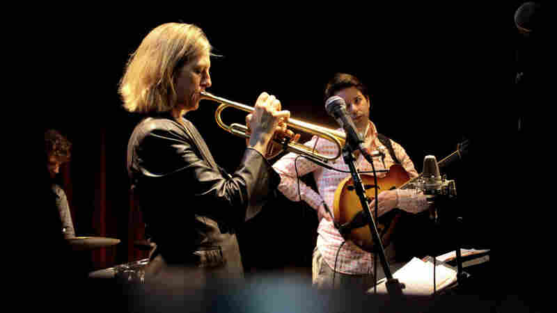 Ingrid Jensen, with Jon Wikan on drums and Lage Lund on guitar.