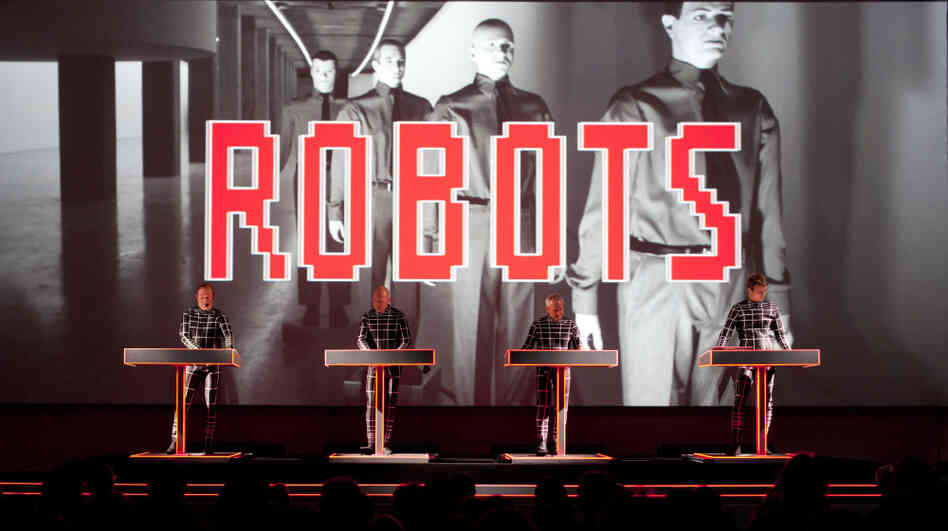 Ralf Hutter (left) and the other members of Kraftwerk in performance at the Museum of Modern Art in New York.