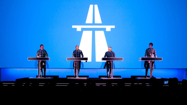 Ralf Hutter (left) and the other members of Kraftwerk in performance at the Museum of Modern Art in New York on Tuesday.  (Courtesy of MoMA)