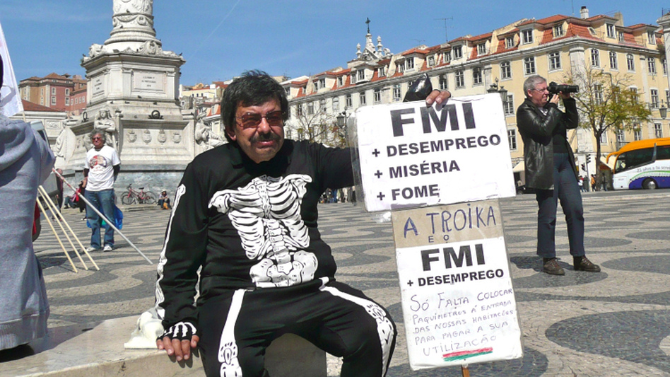 Retiree Alfredo Silva, 67, wore a skeleton costume to an anti-austerity protest in Lisbon, Portugal, last month.