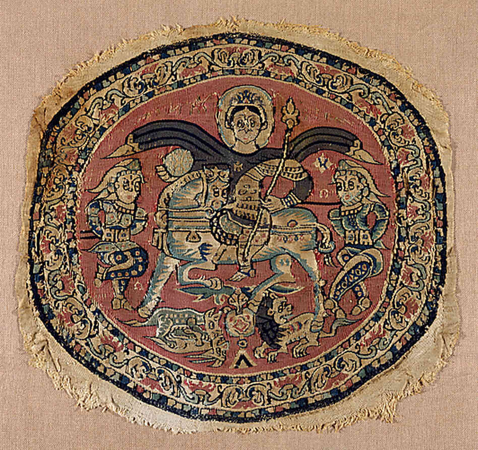 An 8th-century roundel featuring a Byzantine emperor (probably Heraclitus) on exhibition at the Metropolitan Museum of Art.