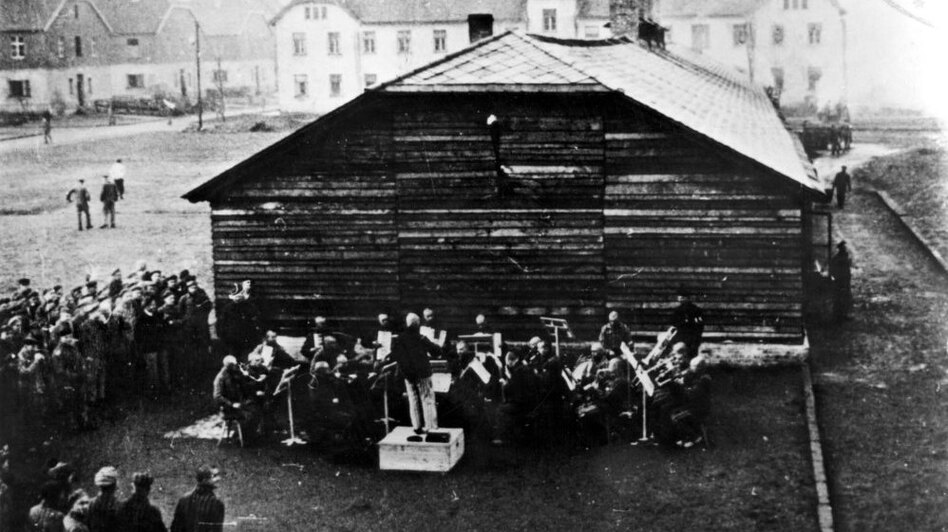 The Auschwitz Men's Orchestra is seen here in an undated photo.  Jewish musicians were forced to perform in Nazi concentration camps.  (U.S. Holocaust Memorial Museum)