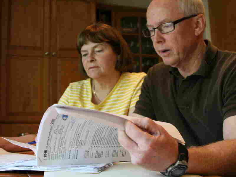 Jim and Janet Borcheller of Fairfax, Via., are in the top 10 percent of income earners. But last year, they had to withdraw money from their retirement account to pay their taxes.