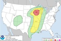The darkest area is at the highest risk of severe weather, including tornadoes.