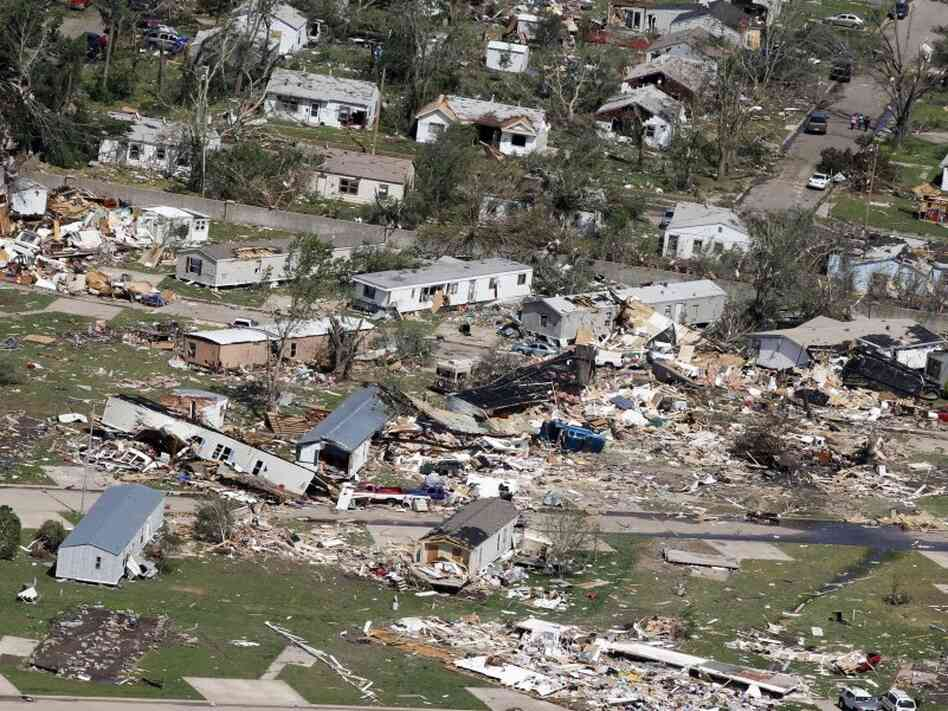 An aerial view of the destruction of the Oaklawn neighborhood in Wichita, K