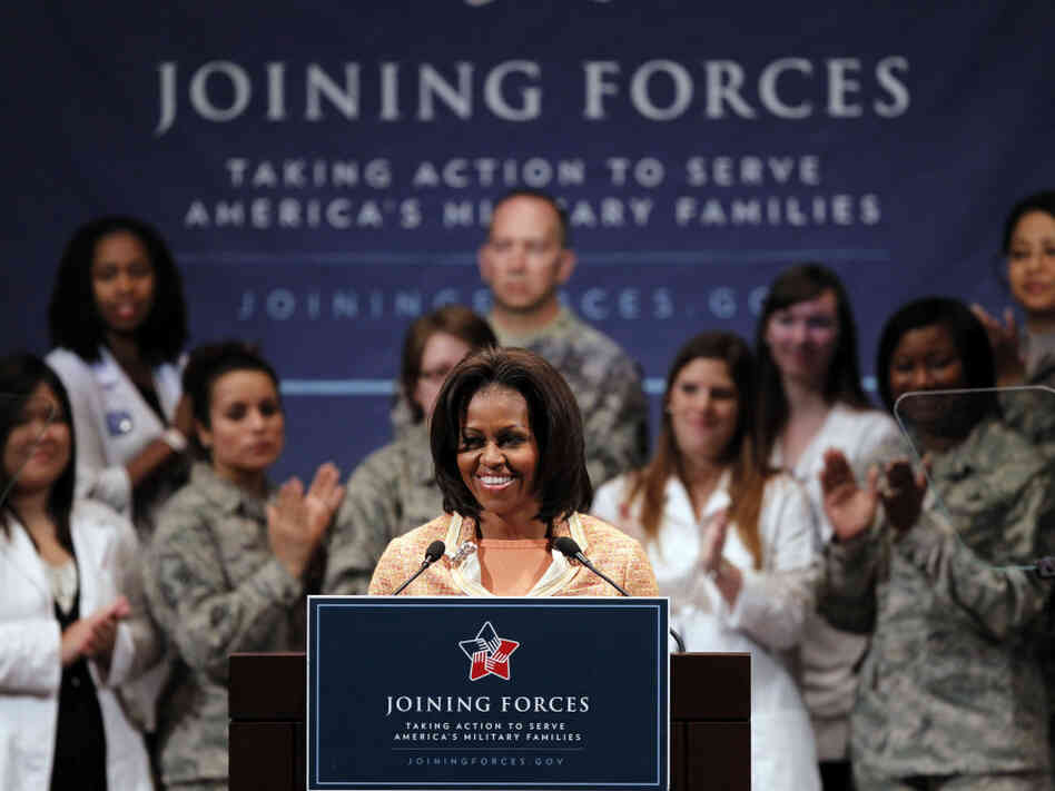 "First lady Michelle Obama at a ""Joining Forces"" event at the University of Pennsylvania in Philadelphia, Wednesday, April 11, 2012."
