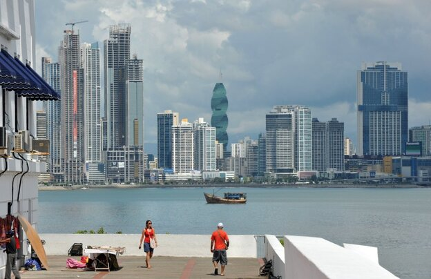 Tourists visit the San Felipe neighborhood in Panama City in December 2011. Panama is experiencing record economic growth, but many fear the benefits aren't trickling down to the poor.