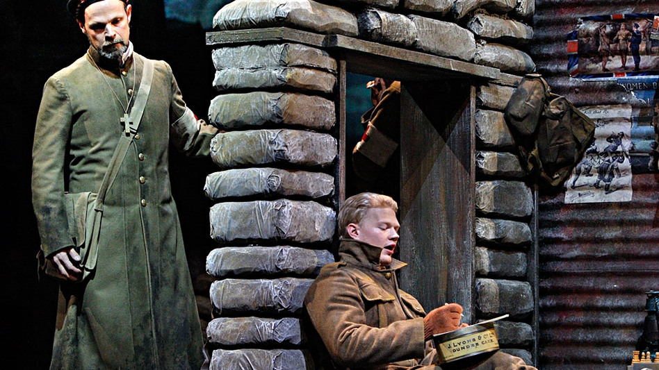 Troy Cook (left) as Father Palmer and John Robert Lindsey as Jonathan Dale in the Minnesota Opera production of Silent Night, which won composer Kevin Puts the Pulitzer Prize for music.   (Minnesota Opera)