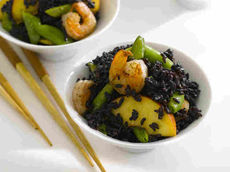 Black Forbidden Rice With Shrimp, Peaches And Snap Peas