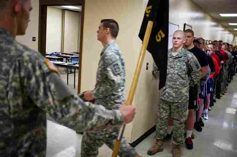 Army recruits, many still in high school, participate in weekend drills at the Evansville National Guard Armory in preparation for basic training.