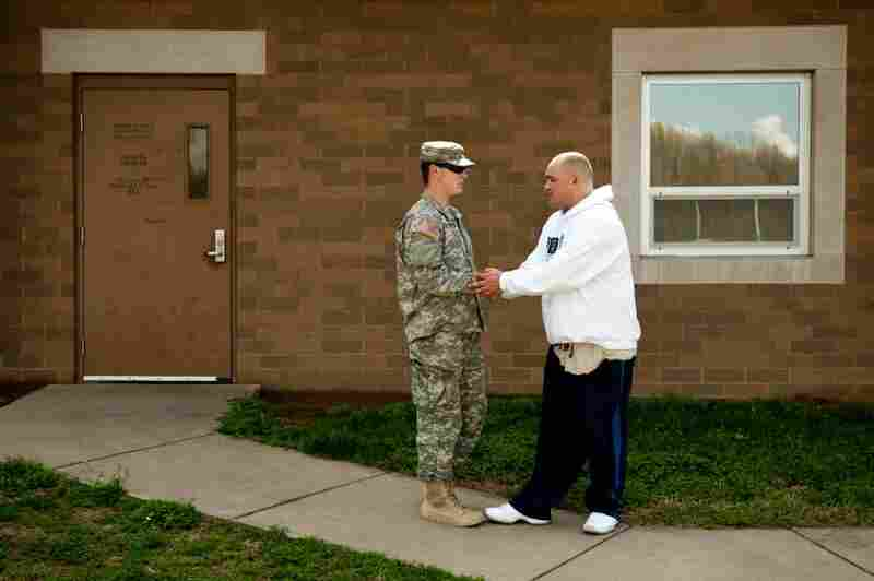 Barillaro chats with Pvt. Logan Musgrave of Jasper, Ind.