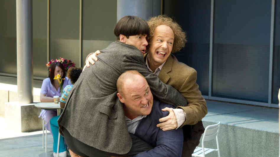 After they leave their orphanage for the first time, Curly (Will Sasso) bears a heavy burden — his fellow Stooges, Moe (Chris Diamantopoulos, left) and Larry (Sean
