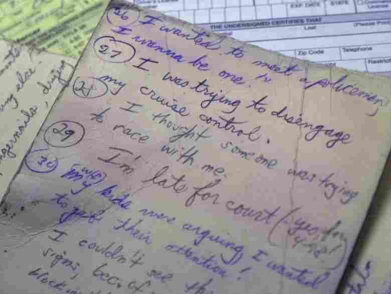 Patrolman Frank Masterson in Ewing Township, N.J., collected excuses he heard over the years from drivers issued speeding tickets. We don't see a mention of physics or sneezing.