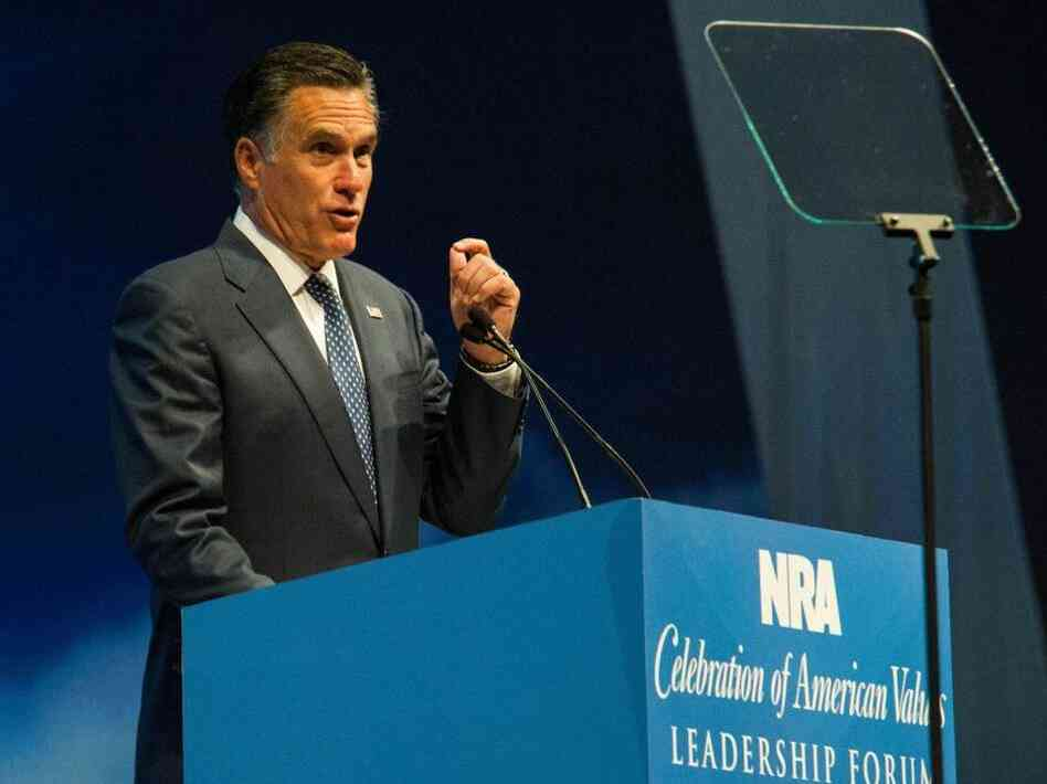 Presumptive GOP nominee Mitt Romney addresses the NRA Leadership Forum April 13, 2012 in St. Louis, Missouri.