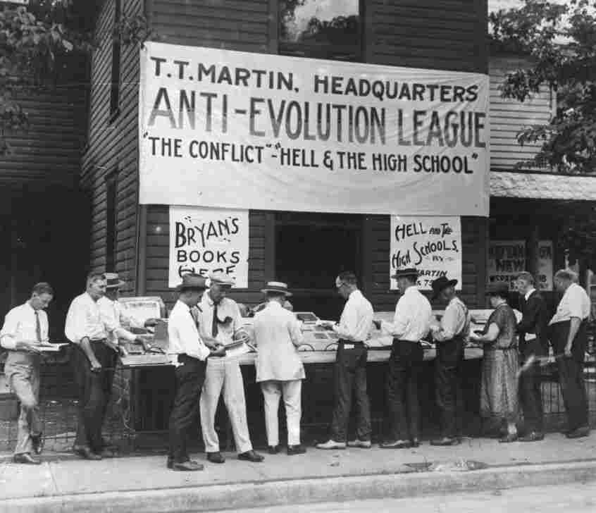 "In 1925, people lined up to buy anti-evolution books in Dayton, Tenn., where the ""monkey trial"" of teacher John T. Scopes took place. Tennessee recently enacted a law encouraging teachers to question accepted science on evolution and other issues."