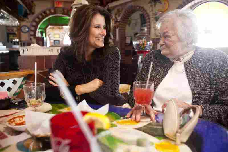Kelley Hawkins smiles with her grandmother AnnaBelle Bowers, 87, while at lunch in Harrisburg, Pa.
