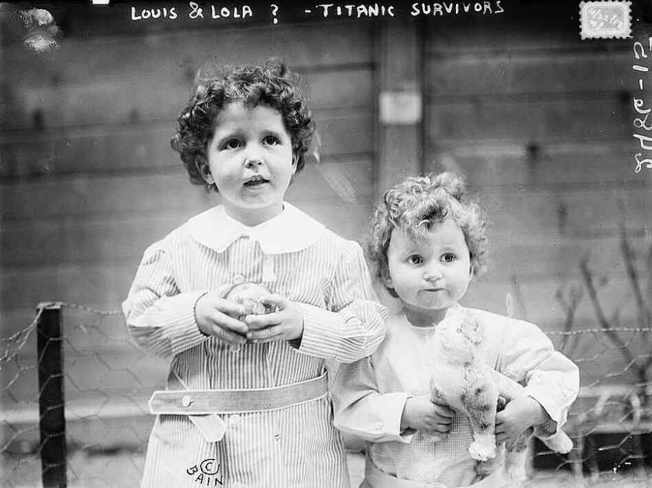 "This photo was taken before the ""orphans"" of the Titanic were fully identified. The boys are French brothers Michel (age 4) and Edmond Navratil (age 2)."
