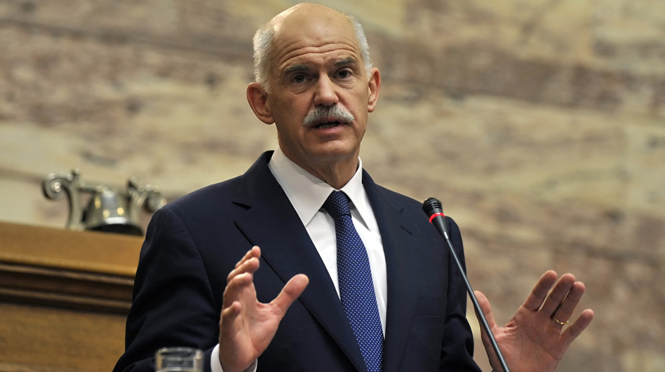 Former Prime Minister George Papandreou stands by the tough austerity measures that ultimately brought down his government — and ended his family's leading role in Greek politics. Here, the then-leader addresses the Socialist party parliamentary group at the Greek Parliament in Athens in November.