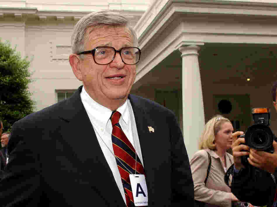 Chuck Colson, speaking outside the White House in 2003, has died. The former aide to President Nixon went to prison for his role in the Watergate scandal. He later became an influential evangelical Christian.
