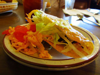 Crunchy tacos are one of the staple dishes served at Mitla Cafe in San Bernadino, Calif.