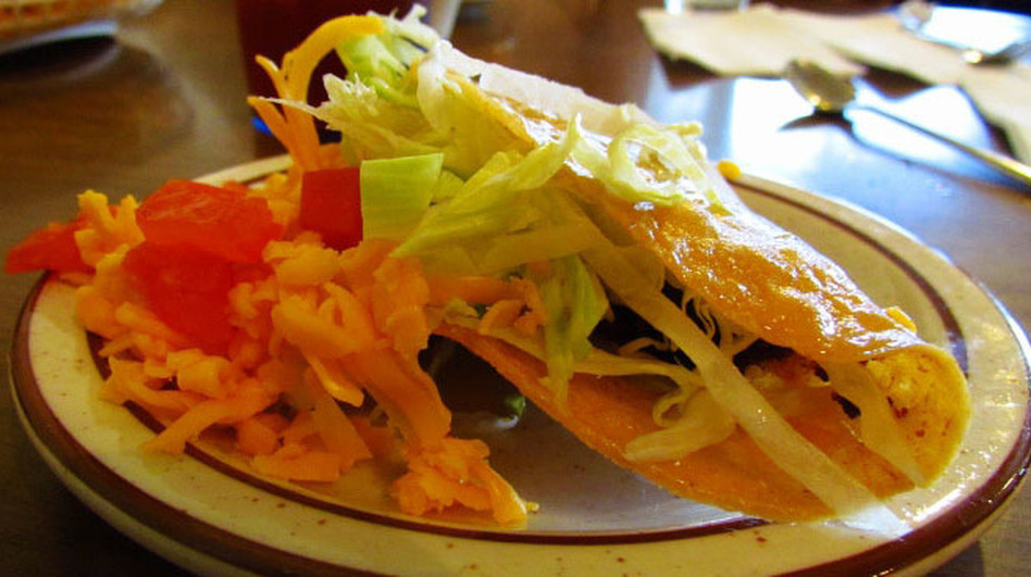 Crunchy tacos are one of the staple dishes served at Mitla Cafe in San Bernadino, Calif. (NPR)