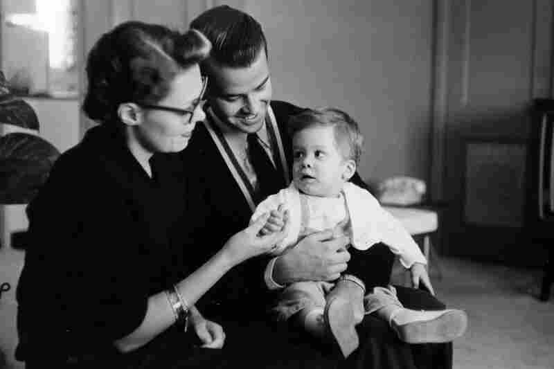 Clark and his first wife, Barbara, get a hand from the newest member of the Bandstand family, Richard Clark Jr., in 1958.