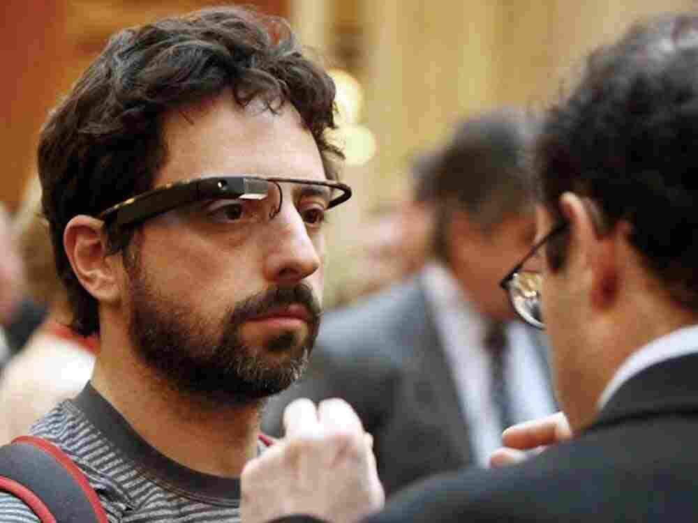 In this photo taken Thursday April 5, 2012 and provided by the Foundation Fighting Blindness, Google co-founder Sergey Brin wears Google's Project Glass prototype publicly for the first time while attending the Dining in the Dark charity function in San Francisco. We'll talk about 'Google Glasses' in our second hour.
