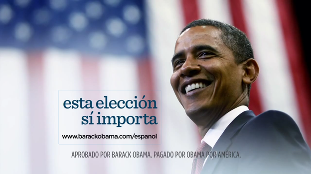 "President Obama's re-election campaign has released four new Spanish-language ads, each ending with the phrase: ""Esta eleccion si importa,"" which in English means, ""This election does matter."" (barackobama.com)"