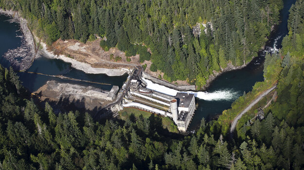 The 108-foot-tall Elwha Dam was constructed in 1911 to provide electricity to the Olympic Peninsula.