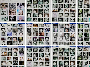 """A combo of reproduction pictures taken on February 2, 2012 in the Lebanese capital Beirut shows portraits of people allegedly killed during the 1982 Hama massacre on a Facebook page entitled """"Hama"""" described as a page run by independent citizens of the central Syrian city."""