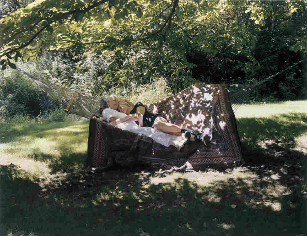 """Lynn and her sister, Vanessa Redgrave, on a hammock on Aug. 11, 2003. In her journal around that day, Lynn wrote, """"I think I'm the nearest I've ever been in my life to feeling complete. Cancer has given me a certain freedom. Odd but true."""""""
