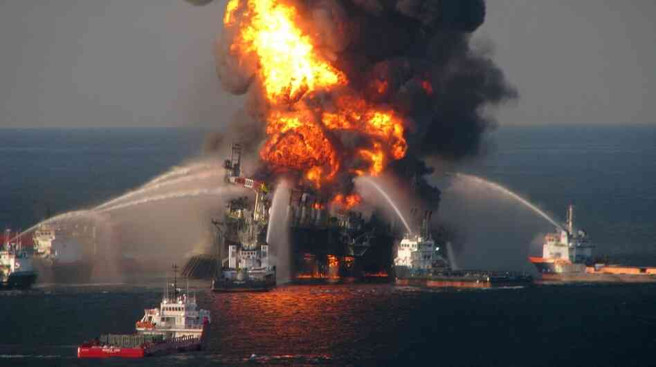 The Deepwater Horizon oil rig burns in the Gulf of Mexico in April 2010. Th