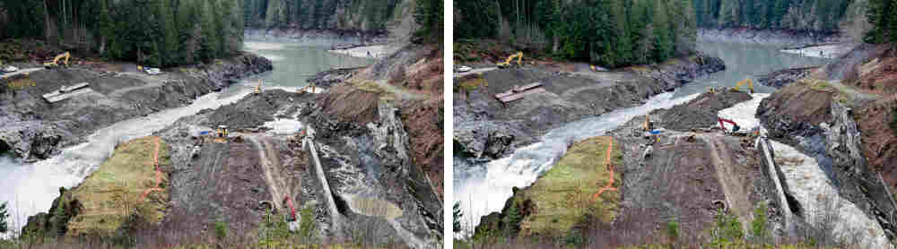 Construction crews redirected the Elwha River during the deconstruction of the lower dam. The view on the left is at the start of redirection process. The picture on the right is about two hours later.