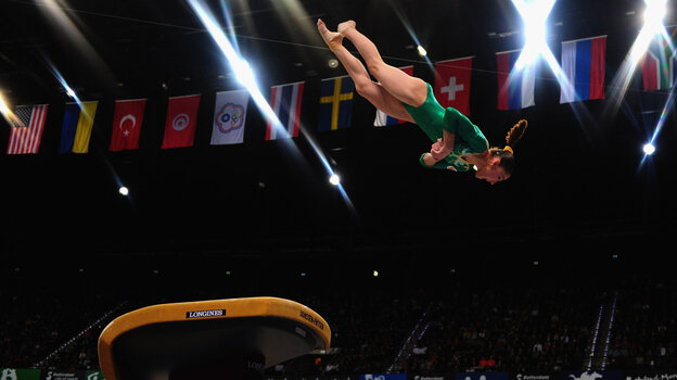 Russia's Aliya Mustafina competes on the vault during the 2010 Gymnastics World Championships in Rott