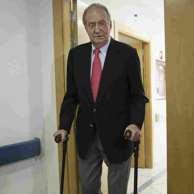 King Juan Carlos of Spain is discharged from Hospital San Jose in Madrid on Wednesday after undergoing hip replacement surgery. He fractured his hip during a recent elephant hunting trip to Botswana. The trip cost nearly $60,000 and has caused a furor in the country, which is suffering record unemployment and is being squeezed by austerity measures.