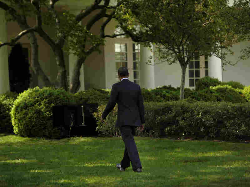 President Barack Obama walks back to the Oval Office after an event on the South Lawn of the White House April 19, 2012 in Washington, D.C.