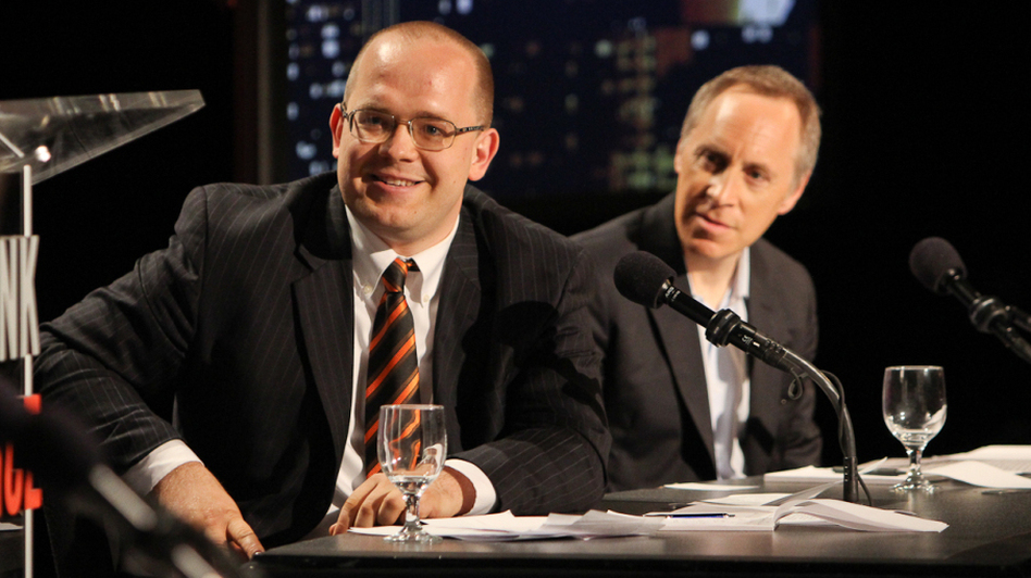 Evgeny Morozov (left) and Jacob Weisberg argued the Internet isn't closing our minds when it comes to politics. (Samuel LaHoz)
