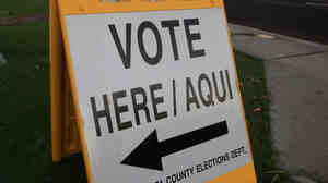 A bilingual sign announces a polling place in the 2008 general election on November 4  in Phoenix, Ariz.