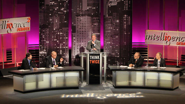 "A group of experts faced off on the motion ""When It Comes to Politics, the Internet Is Closing Our Minds"" at an Intelligence Squared U.S. debate on April 17 in New York City. (Samuel LaHoz)"