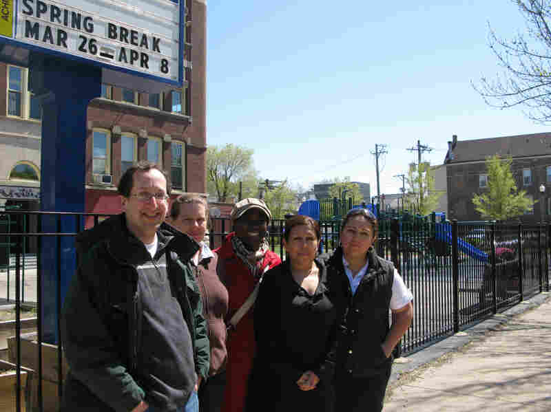 Parents who oppose Emanuel's plan to lengthen the school day to seven hours for elementary students (from left): Jonathan Goldman, Joy Clendenning, Josephine Sanders, Nellie Cotton and Mary Botello.