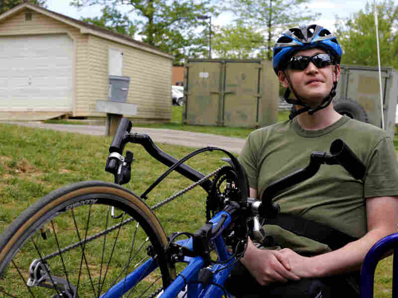 """Patrick Brown, 23, lost most of both legs when he was hit by an IED on a bomb-clearing patrol in Afghanistan in 2010. Learning how to ride a bike again, he says, """"is a chance to start over."""""""