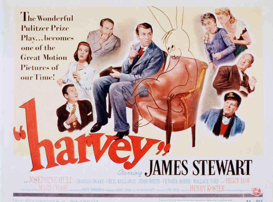 A poster from the 1950 Universal movie Harvey, starring James Stewart.