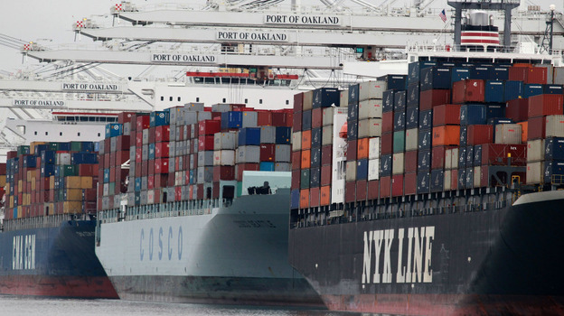 Container ships are positioned under cranes at the Port of Oakland in Oakland, California. U.S. exports are up more than 30 percent from just two years ago, when President Obama set a goal of doubling U.S. exports over the next five years.
