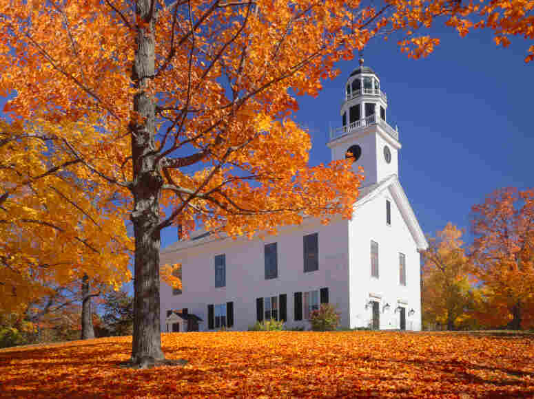 Country church in fall.