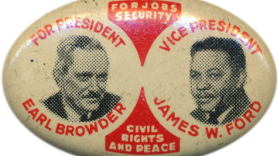 U.S. Communists have been running for office for decades.  Above, the Party's presidential ticket in 1936. (Ken Rudin collection)
