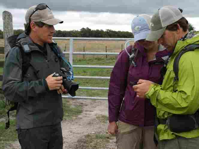Expedition members Carlton Ward Jr., left, Mallory Lykes Dimmitt and Joe Guthrie at Adams Ranch in Central Florida.