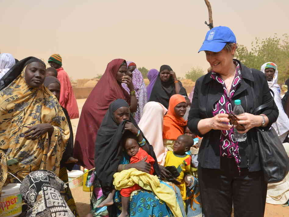 Helen Clark, administrator of the United Nations Development Programme, meets malnourished children on Feb. 17, 2012 as she visits western Niger — a country that has been hit by a months-long food crisis.